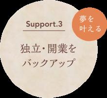 Support.3 独立・開業をバックアップ 夢を叶える
